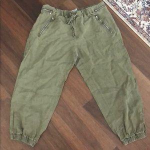 Army green elastic/drawstring crop pants- Zara